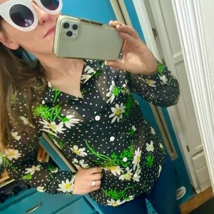 True Vintage 70's Pussybow Daisy Button Up Blouse
